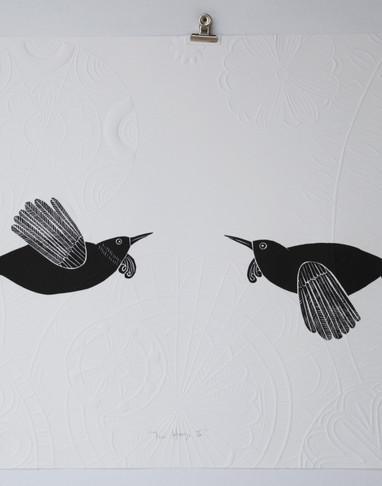 Tui Hongi wood II, cut print with embossing, 70 x 50cm