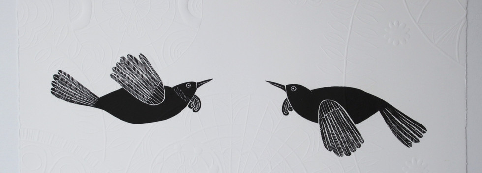 Tui Hongi wood II, cut print with embossing, 70 x 50cm