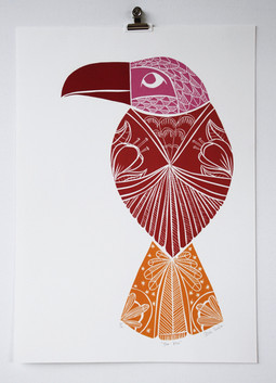 The Kiss, wood cut print, 50 x 35cm