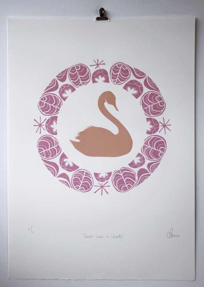 Peach Swan in Wreath, wood cut print with gold leaf, 50 x 70cm