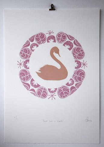 Peach Swan in Wreath, wood cut print with gold leaf, 50 x 70cm