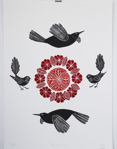 Kura Paru Circles, wood cut print, 70 x 50cm