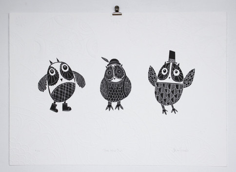Three Wise Owls, wood cut print with embossing, 50