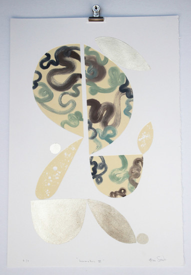 Geometric III, monoprint with gold leaf made in Melbourne, 50 x 35cm