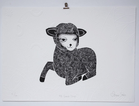 New Zealand Lamb Chops, wood cut print with embossing, 50 x 70cm