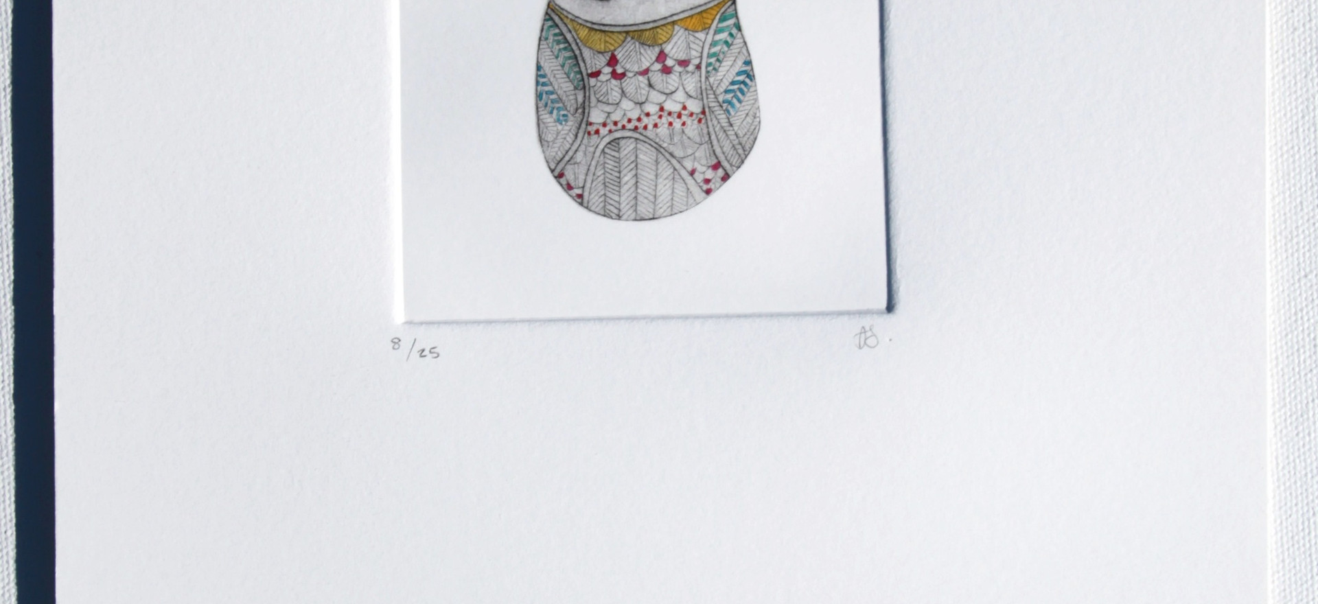 Tiny Owl, dry point etching with watercolour, 25 x 17.5cm