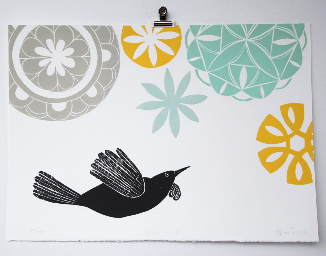 Pacific Wind, wood cut print, 50 x 35cm