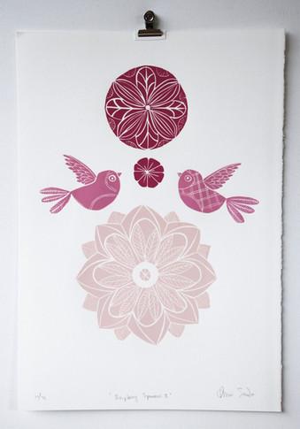 Raspberry Sparrows, wood cut print, 50 x 35cm