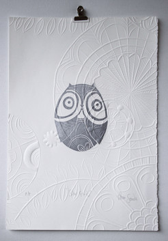 Silver Owl, wood cut print with embossing, 50 x 35cm