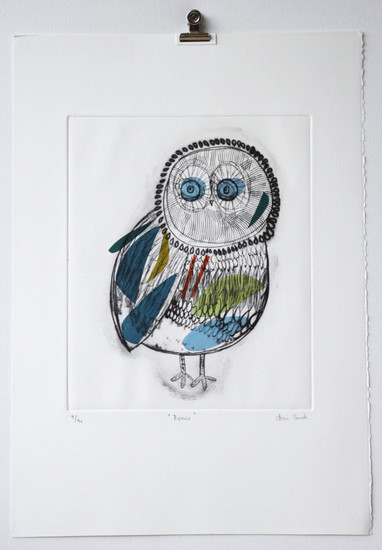 Picasso Owl, engraving 4 of 40 with chine-collé made in Barcelona, 35 x 50cm