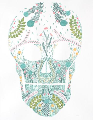Botanical Skull, original gouache on paper, 100 x 80cm