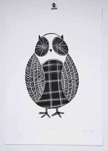 Wise Owl wood cut print with embossing, 70 x 50cm