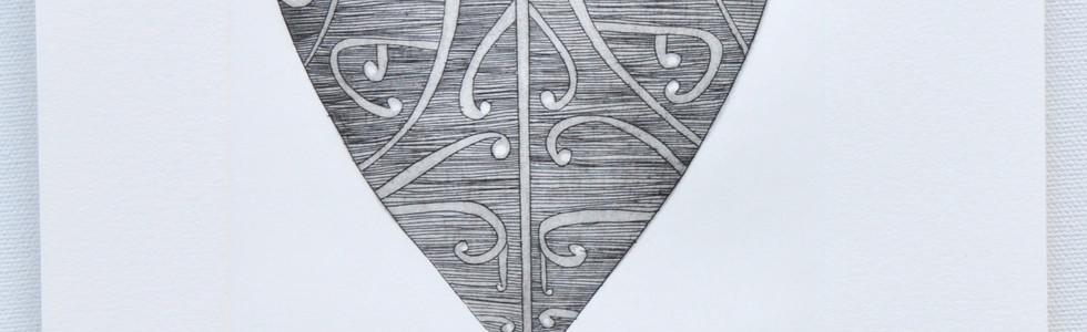 Aroha (Black), copper plate etching, 25 x 17.5cm