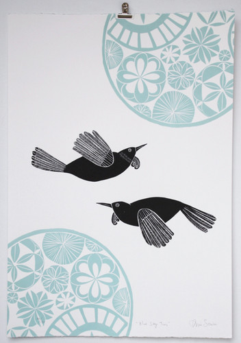 Blue Sky Tuis, wood cut print, 70 x 50cm
