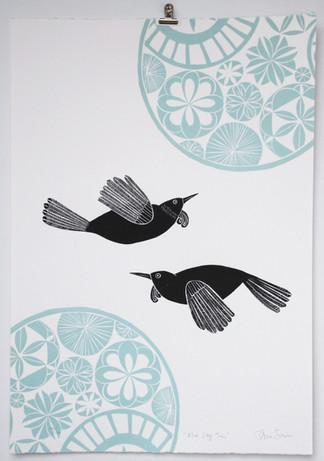 Blue Sky Tuis, wood cut print, 70 x 50cm