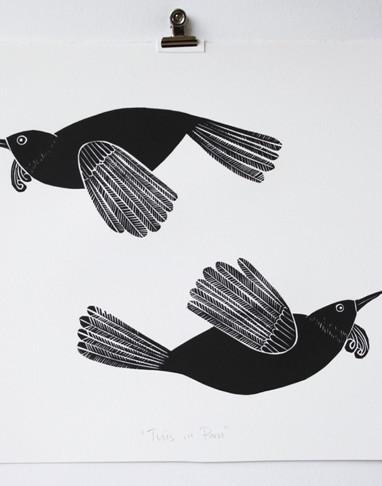 Tuis in Paru, wood cut print, 50 x 35cm