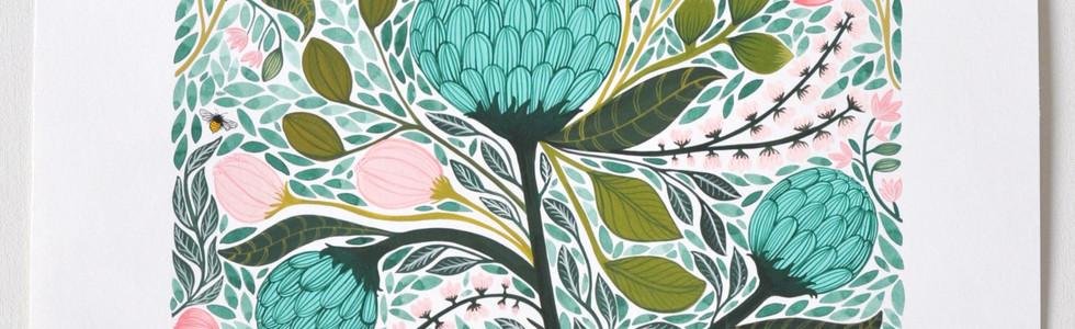 Orpheus' Garden, original gouache on paper, 80 x 65cm