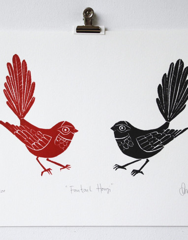 Fantail Hongi, wood cut print, 25 x 17.5cm