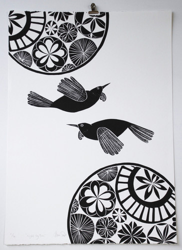 Night Sky Tuis, wood cut print, 70 x 50cm
