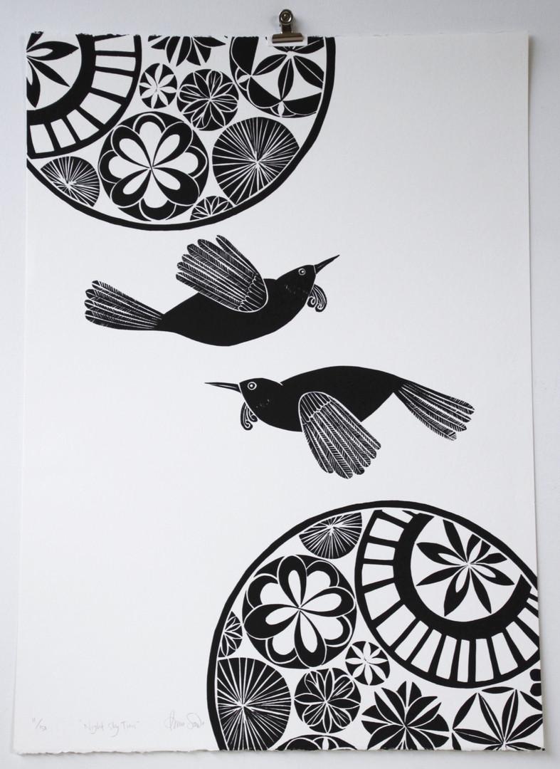 Night Sky Tuis, wood cut print, 70 x 50cm