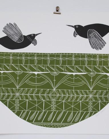 Kauri Green with Tuis, wood cut print, 70 x 50cm