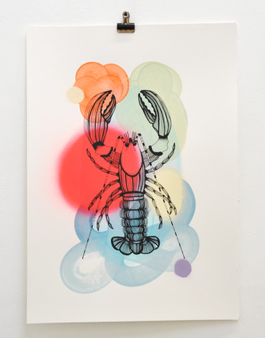 Cray edition no. 9 of 30, silk screen print on hand painted background, 50 x 35cm