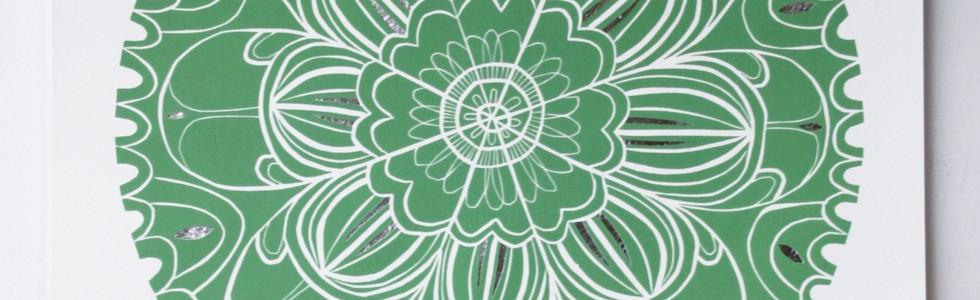 Silver Mandala, wood cut print with silver leaf, 70 x 50cm