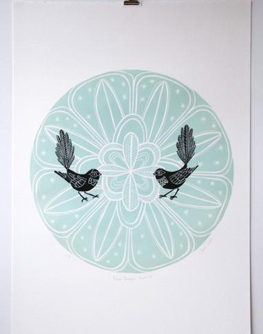 Blue Fantail Porohita, wood cut print, 70 x 50cm