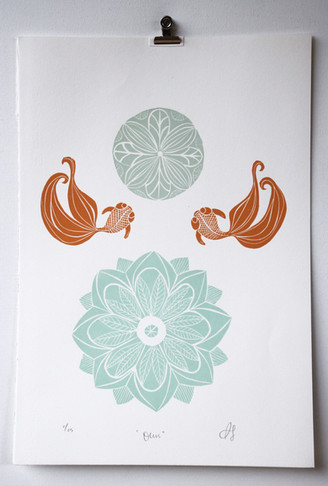 Ours, wood cut print, 50 x 35cm