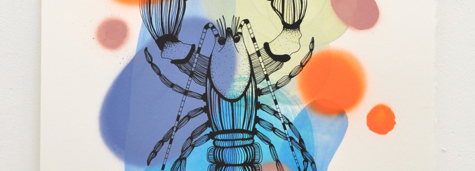 Cray edition no. 11 of 30, silk screen print on hand painted background, 50 x 35cm
