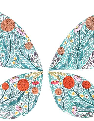 Botanical butterfly, original gouache on paper, 80 x 60cm