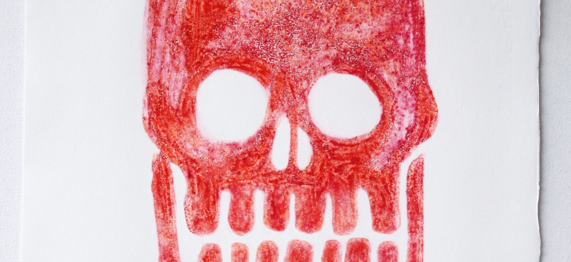 Fluorescent Skull 6, carborundum monoprint made in Barcelona, 35 x 50cm