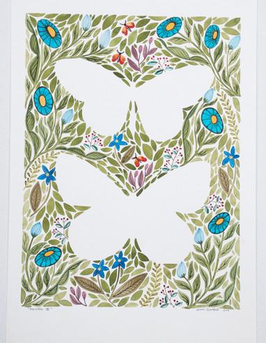 Farfalla III, original gouache on paper, 21 x 30cm