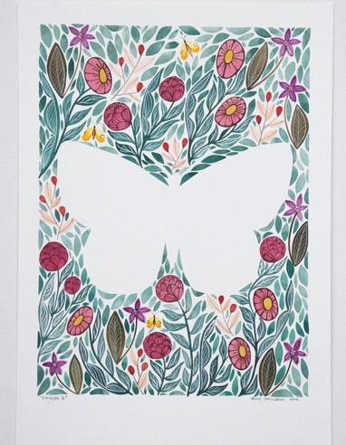 Farfalla II, original gouache on paper, 21 x 30cm