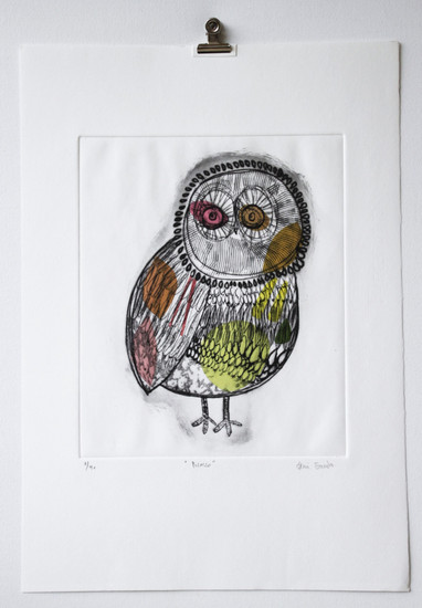 Picasso Owl, engraving 3 of 40 with chine-collé made in Barcelona, 35 x 50cm