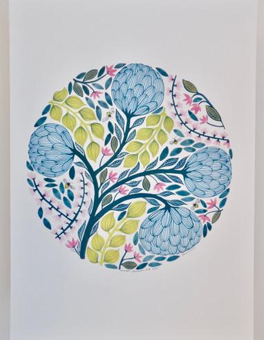 Manuka Blossoms and Bees, giclée print, 29.5 x 41cm