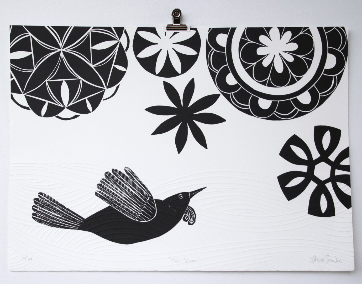 Tui Wave, wood cut print with embossing, 50 x 35