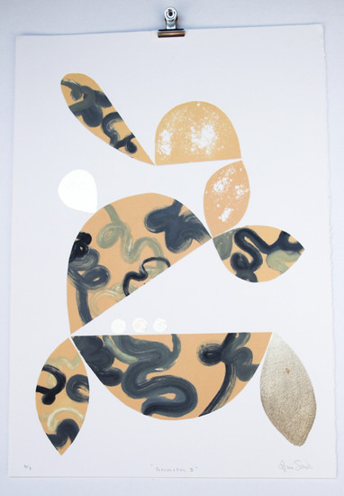 Geometric II, monoprint with gold leaf made in Melbourne, 50 x 35cm