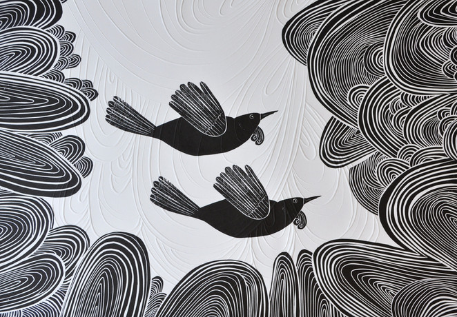White and Black, wood cut print with embossing, 70 x 50cm