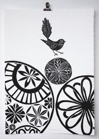 Piwaiwaka Wave, wood cut print with embossing, 50 x 35cm