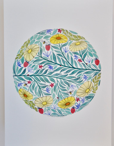 Strawberries and Daisies, giclée print, 29.5 x 41cm