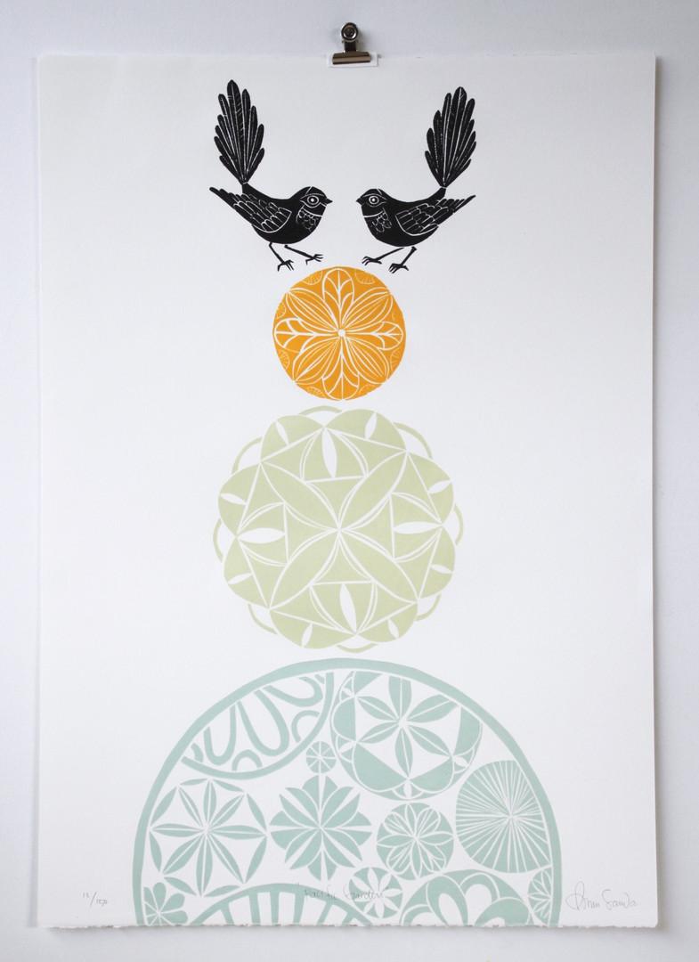 Pacific Garden, wood cut print, 70 x 50cm