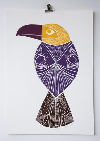 The Rain, wood cut print, 50 x 35cm