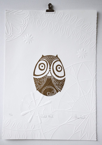 Gold Owl, wood cut with embossing, 50 x 35cm
