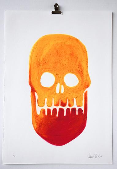 Fluorescent Skull 7, carborundum monoprint made in Barcelona, 35 x 50cm