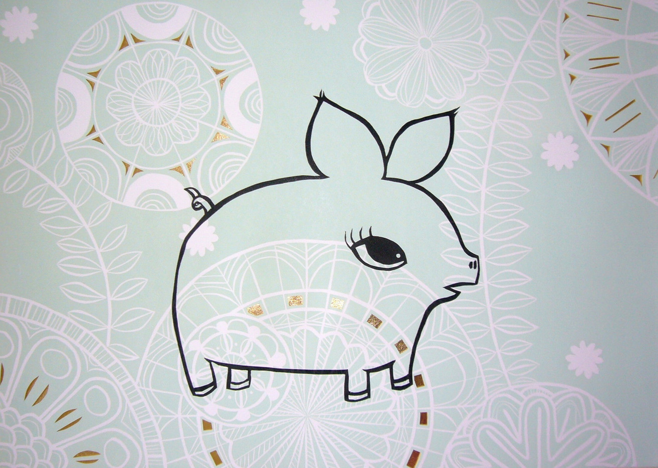 Golden Piglet, wood cut print with gold leaf detail, 50 x 70cm