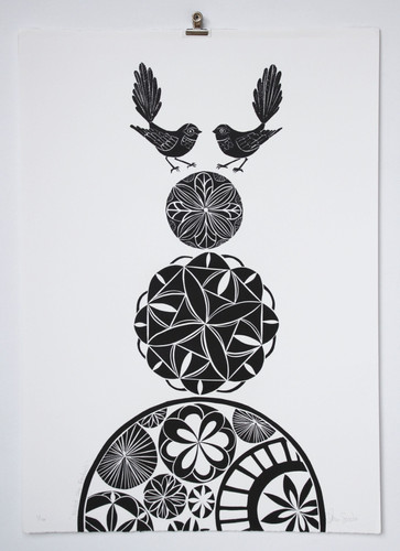 Night Sky Fantails, wood cut print, 70 x 50cm