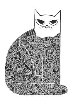 Black Cat, wood cut print, 70 x 50cm