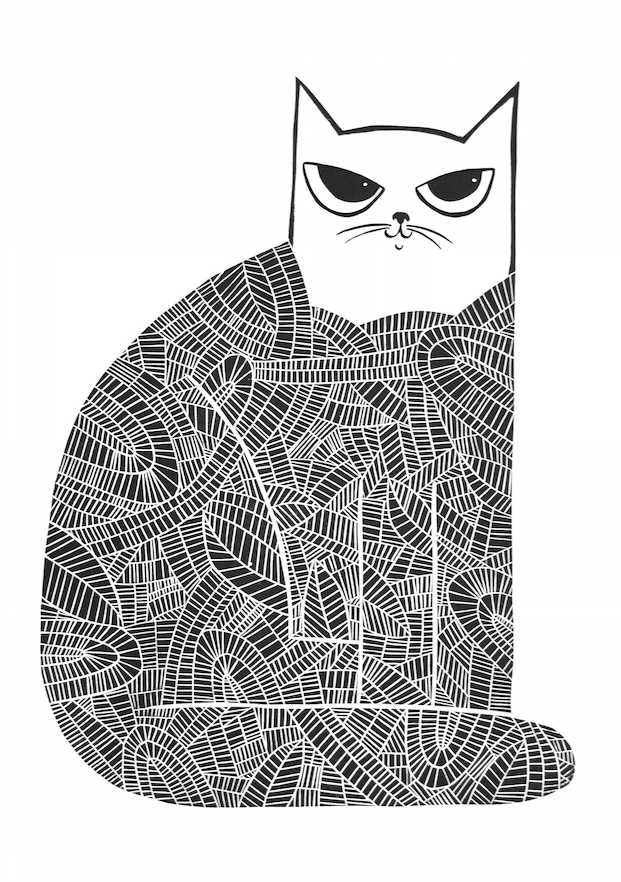 Black Cat, wood cut print, 70 x 50cm
