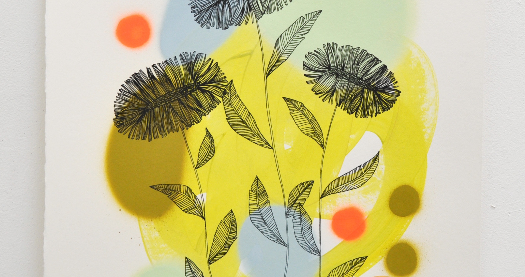 Daisies edition no. 2 of 30, silk screen print on hand painted background, 50 x 35cm